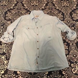Mountain Khakis Button Down Shirt Large Blue